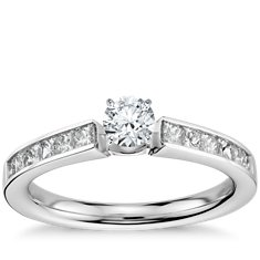 Princess Cut Channel Set Engagement Ring in 14k White Gold (1/2 ct. tw.)